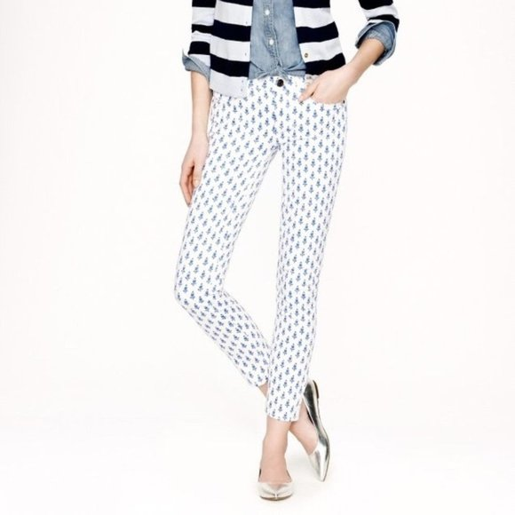 J. Crew Thistle Print Toothpick Jeans 26 Ankle